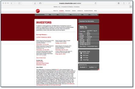 Mattel IR webpage