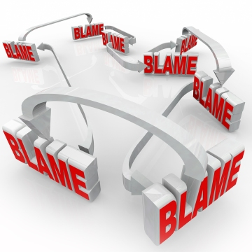 Passing Blame with arrows pointing to others accusing them of doing something wrong or messing up and denying responsibility, accountability or culpability